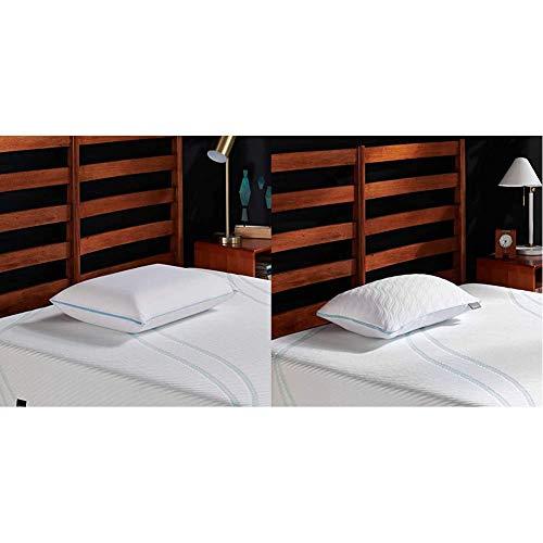 Tempur-Pedic TEMPUR-Cloud Breeze Dual Cooling Pillow, King & TEMPUR-CloudProMidPillow, Queen, White