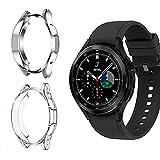 Young & Ming Funda Compatible con Samsung Galaxy Watch 4 Classic 46mm, [Paquete 2] PC Carcasa Prueba de Golpes e Irrompible Funda para Galaxy Watch 4 Classic 46mm,Plateado y Transparente