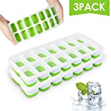 Ice Cube Trays, Silicone Easy-Release and Flexible 14-Ice Trays with Spill-Resistant Removable Lid,...