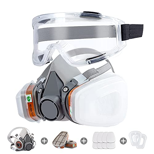 Respirator Mask Reusable Half Face Cover Gas Mask with Safety Glasses, Paint Face Cover Face Shield with Filters for Painting, Organic Vapor, Welding, Polishing, Woodworking and Other Work Protection
