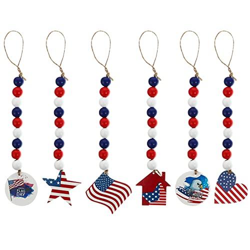 VALICLUD 6 Piezas Patriótico Día de La Independencia Guirnalda de Cuentas de Madera Patrón de Bandera Americana Granja Rústica Cuenta Colgante Bolso Colgante Encantos para El 4 de Julio
