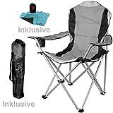 WildStage XL - Sedia da campeggio pieghevole, con borsa per il trasporto e borsa da toilette, pieghevole, con portabibite, portata fino a 120 kg, nero/grigio, 62 x 92 x 106 cm