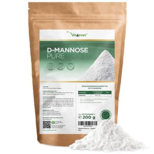 D-Mannose Pulver - 200 g - (3,3 Monate Vorrat) - Aus pflanzlicher Fermentation - Laborgeprüft - Rein & naturbelassen - Ohne Zusätze - Vegan