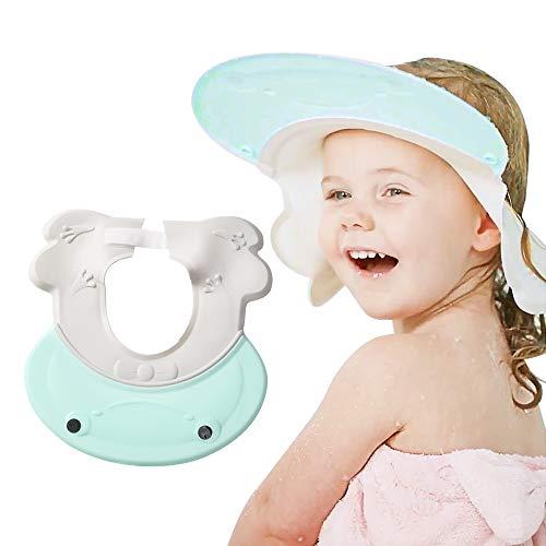 Maydolly Protector de lavado de pelo para niños, gorro de ducha ajustable, visera de baño para niños pequeños, champú, color verde claro