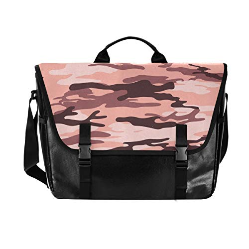 Messenger Bag-Camouflage Army Military Waterproof Canvas Leather Computer Laptop Bag 15.6 Inch Briefcase Shoulder Bag with Padded Adjustable Shoulder Strap
