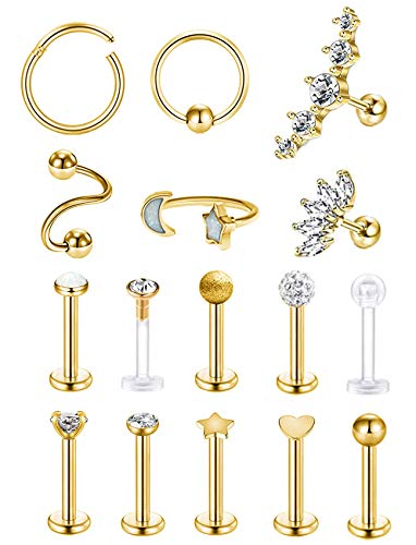 REVOLIA 16 Pcs 16G Stainless Steel Tragus Earring Cartilage Helix Single Earring Lip Rings Labret Studs Daith Rook Piercing Gold-tone