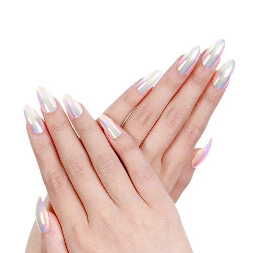 Ejiubas Press On Nails Chrome Stiletto Nail Tips Fake Nails with Nail Glue 24 Pcs 12 Sizes