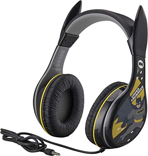 eKids Batman Headphones for Kids, Wired Headphones for School, Home or Travel, Tangle Free Stereo Headphones with Volume Control, 3.5mm Jack, For Fans of Batman Gifts