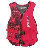 FUNYIN - Chaleco salvavidas para adultos y niños, con bolsillo de seguridad, chaleco de flotación y natación, para pesca, surf buceo balsismo, A Rojo2, M