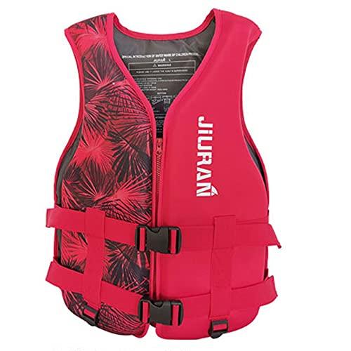 FUNYIN - Chaleco salvavidas para adultos y niños, con bolsillo de seguridad, chaleco de flotación y natación, para pesca, surf buceo balsismo, A Rojo2, XL