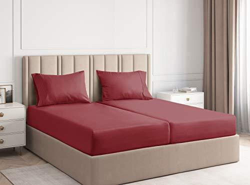 Sábanas de tamaño King de colchón dividido para camas ajustables, bolsillos profundos, sábanas...