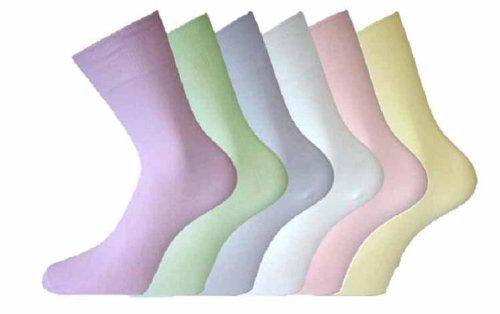 Damen Baumwolle LOCKER breit TOP SOCKEN nein nicht elastisch 6er pack - Pastell, UK 4-6 Eur 36-40