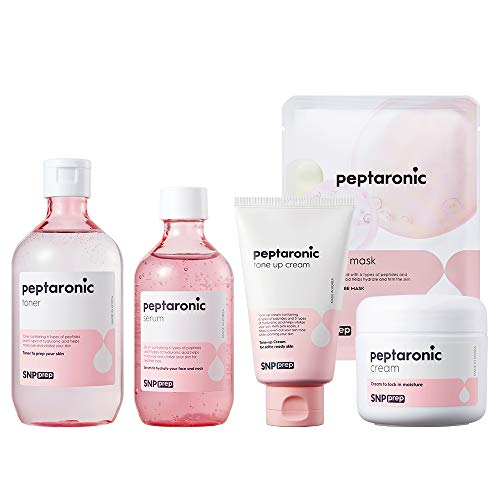SNP PREP - Peptaronic Complete Korean Skin Care Set - Includes Toner, Cream, Serum, Ampoule Mask (10 Sheets) & Tone-Up Cream - Best Gift Idea for Mom, Girlfriend, Wife, Her, Women
