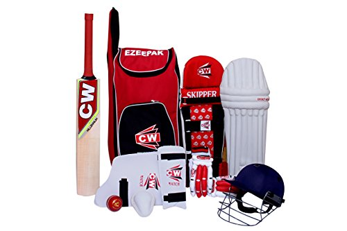 CW Junior Sport Cricket-Set rot Größe Nr. 5 mit Kaschmir Willow Premium Qualität Cricket Bat ezzepack Schulter Kit Bag Ideal für 9–10 Jahre Kind