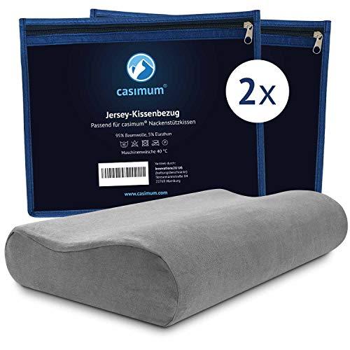 casimum Jersey Kissenbezug aus Baumwolle für Nackenstützkissen mit Reißverschluss. Abnehmbarer Schonbezug Kopfkissen 60x30 cm, Grau, 2-Pack