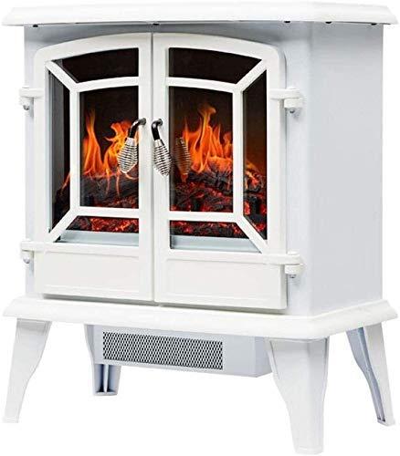 LJYY Estufa de Chimenea eléctrica portátil de pie Solo calefacción eléctrica Vintage con Calentador de Puerta de Apertura con Llama Realista 3D y Troncos E (Color: Blanco)