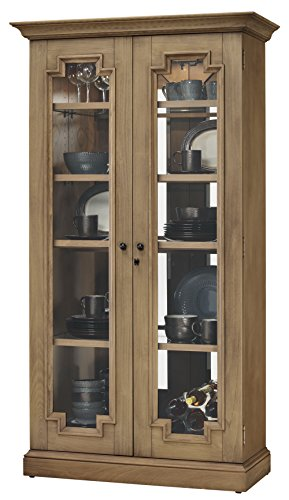 Howard Miller Andrew Display Cabinet 543-005 - Lightly Distressed Aged Natural Glass Curio Shelf Case with No Reach Roller Light & Locking Front Doors