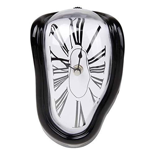 Moozic Dekorative Dali Schmelzende Uhr - Uhr Surrealismus Uhren Salvador Dali Uhr Retro Uhr Wohnzimmer Deko Flur Deko Kamin Lustig Home Office Tischuhr Klassisches Design Wohnzimmer Uhr,Schwarz