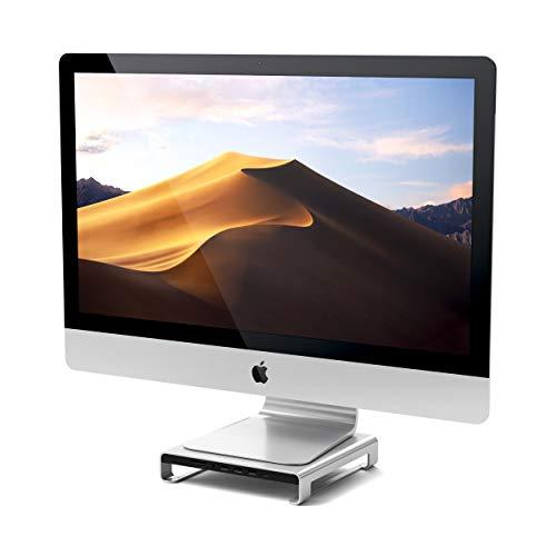 SATECHI Soporte de Aluminio Tipo-C con USB-C de Datos Integrado, USB 3.0, Ranuras para Tarjetas Micro/SD y Jack de Audio Compatible con 2017 iMac Pro y 2019/2017 iMac (Plata)