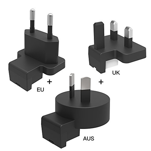 Luxtude International Travel Adapter Plug Kit 3PCS Matching with GLOBALTRAVELER Portable Charger for iPhone, iPad, Samsung, LG and Pixel, Works in United States, China, UK, Europe, Australia and More