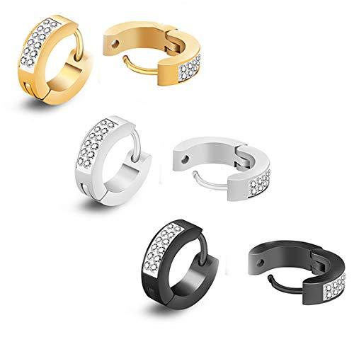 CZ Hoop Earrings,Cubic Zirconia Inlaid Stainless Steel Small Huggie Hoop Earring for Women Men Pack of 3 Pairs