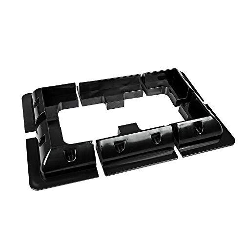 ECOWORTHY Schwarze Dachkabeleinführungsverschraubung & 4 Stück Sonnenkollektor-Eckwinkel & 2 Stück Schwarzes Sonnenkollektor-Seitenmontagehalter (Eckwinkel + Seitenwinkel)