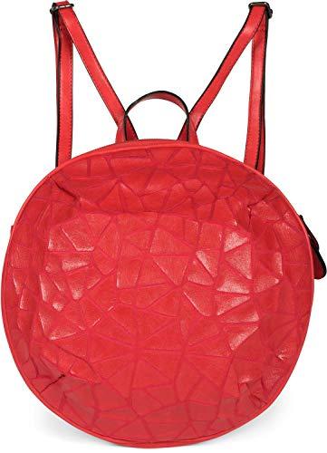 styleBREAKER Damen Rucksack Handtasche Rund mit Oberfläche im Prisma Look mit Reißverschluss, Tasche 02012325, Farbe:Rot