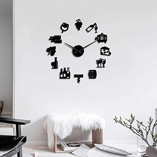 3D DIY Muur Klok Kaas en Wijn Moderne Keuken Art Sticker DIY Giant Wandklok Alcohol Drink bar Teken Kurk Schroef Horloge op De Muur Woonkamer Slaapkamer Decoratie 37inch