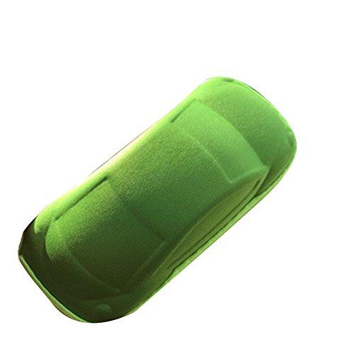 Dosige brillenkoker met ritssluiting en autovorm voor zonnebril, harde schaal, groen