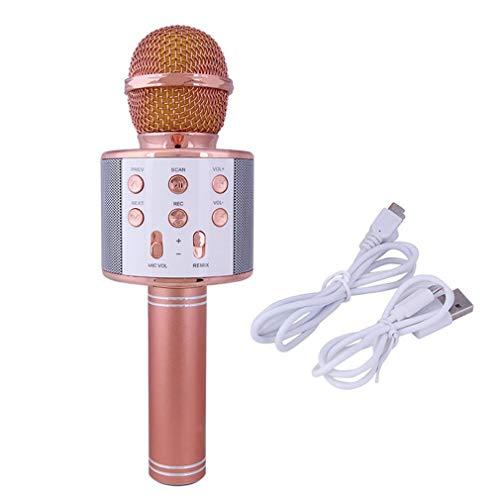 Nsdsb Ktv Inalámbrico Karaoke Micrófono De Mano Reproductor USB Micrófono Altavoz Fiesta En Casa Oro Rosa