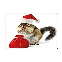 """クリスマスチップマンク 赤いサンタクロースの帽子とバッグ サプライズクリスマスプレゼント付き ライトイエロー ホワイト レッド 16""""x 24"""""""