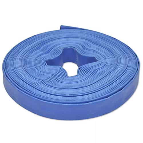 vidaXL Manguera Plana de Agua 25 m 25 mm Poliester PVC Azul Goma de Incendios