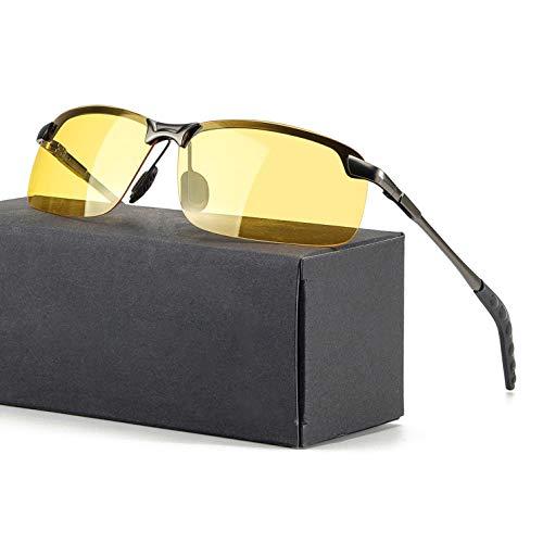 TJUTR Hombre Gafas De Visión Nocturna Polarizadas, HD Amarilla Gafas Da Sole Marco De Metal – Anti Reflectante UV400(Gris/Amarillo)