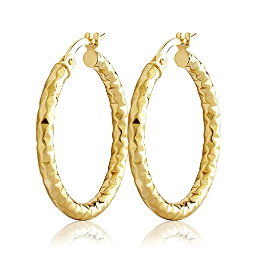 NKlaus Par de pendientes de aro de 27 mm de oro amarillo 333 de 8 quilates para mujer brillantes pendientes grandes con patrón 3737