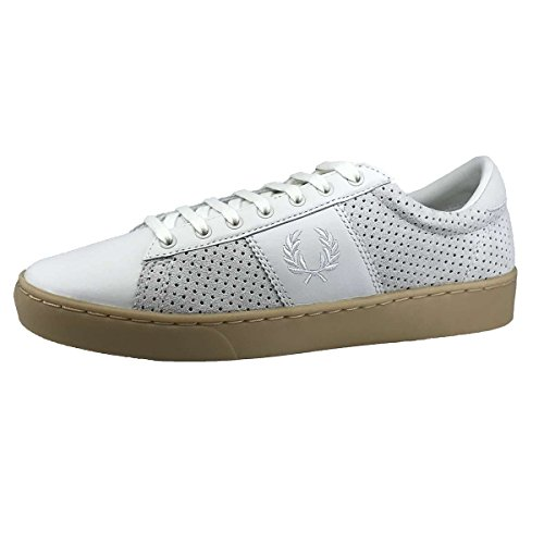 Fred Perry Men's Spencer Perforated Suede Sneakers, Porcelain,7 M US