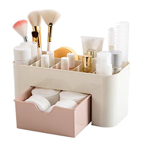 UPXIANG Organizer do makijażu kosmetycznego na stół do przechowywania biurka, stojak do makijażu szuflada pudełko do przechowywania etui uchwyt pędzel długopis biżuteria organizer oszczędność miejsca (różowy)