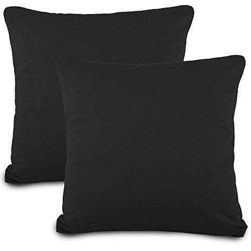 aqua-textil Classic Line Kissenbezug 2er-Set 80 x 80 cm schwarz Baumwolle Kissen Bezug Reißverschluss Jersey Kissenhülle