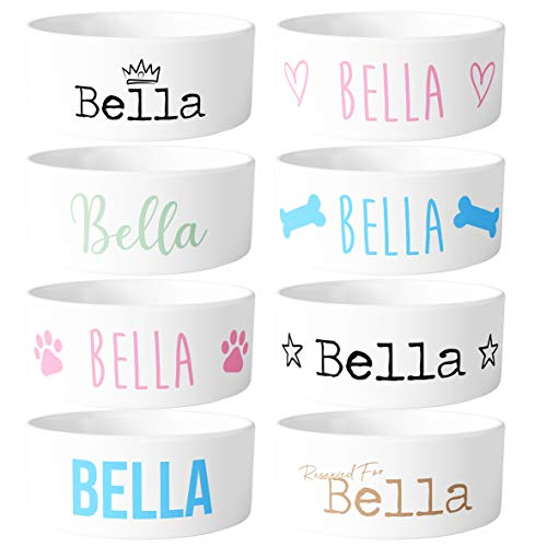 Personalised Ceramic Dog Bowl - Choose Your Own Design & Colour - Add Your...
