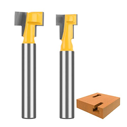 KOWOOD 2pcs 1/4 Inch Shank Keyhole Router Bit Set - 3/8 &1/2 inch in Blade Diameter