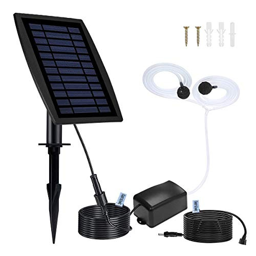 Solar Air Pump for Fish Pond Battery Backup, 10 ft + 10 ft Cable, 3 Modes( intermittent), Hose and Bubble Stone, Solar Powered Oxygenator Aerator for Outdoor koi Pond, Backyard Hydroponic, Decoration