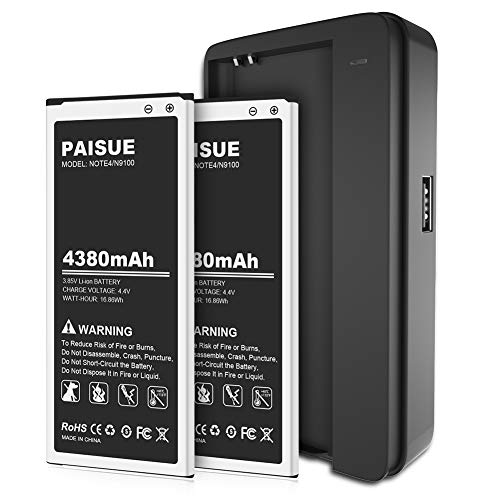 Galaxy Note 4 Battery, 2x4380mAh Li-ion Replacement Battery for Samsung Note 4 N910, N910U 4G LTE, N910V(Verizon), N910T(T-Mobile), N910A(AT&T), N910P(Sprint) | Samsung Note 4 Batteries Kit