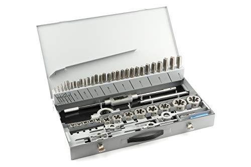 GSR PROFI Gewindeschneidsatz M3-M24, 64-teilig, HSSG Bohrer Set, Mit Vor- Mittel- & Fertigschneider, Schneideisen, verstellbare Windeisen, Werkzeughalter, Schneideisenhalter, Metall-Kassette