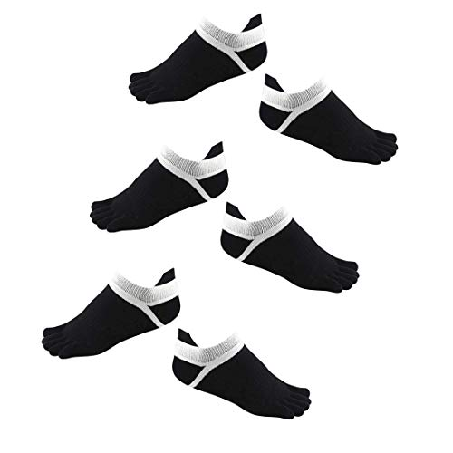 Electomania Men's Low Cut Toe Socks 5 Finger No Show Cotton Mesh Wicking Athletic 3 Pairs