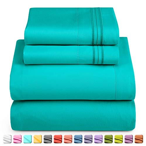 Nestl Luxury Queen Sheet Set - 4 Piece Extra Soft 1800 Microfiber-Deep Pocket Bed Sheets with Fitted Sheet, Flat Sheet, 2 Pillow Cases-Breathable, Hotel Grade Comfort and Softness - Teal