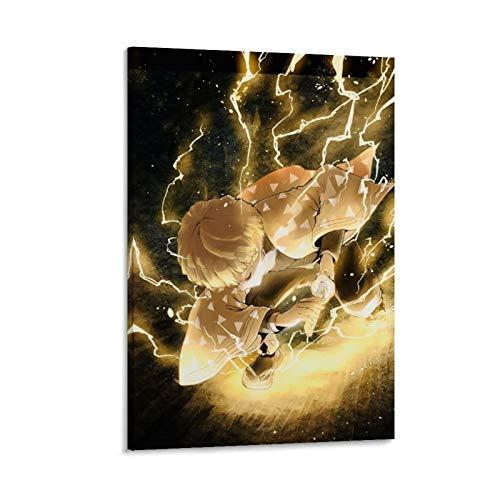 DRAGON VINES Anime Demon Slayer Agatsuma Zenitsu Thunder Breath Cool Art Print Lienzo artístico de pared para decoración moderna de sala de estar 50 x 75 cm