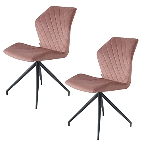 Rocky Esszimmerstühle 2er Set   Design Stuhl mit Stoffbezug (Samt Rosa)