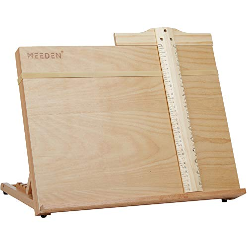 MEEDEN Artist Drawing & Sketching Board with A Drafting T-Square- Portable & Adjustable Solid Beech Wood Sketchboard - Wood Desktop/Tabletop Easel, 18½' X 14¼' (A3)