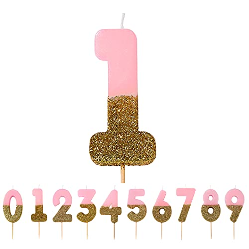 Talking Tables Pink Number 1 Candle with Gold Glitter Premium Quality Cake Topper Decoration for Kids, Adults, Teenagers, 1st Birthday Party, Anniversary, Milestone Age, 3', PINK1