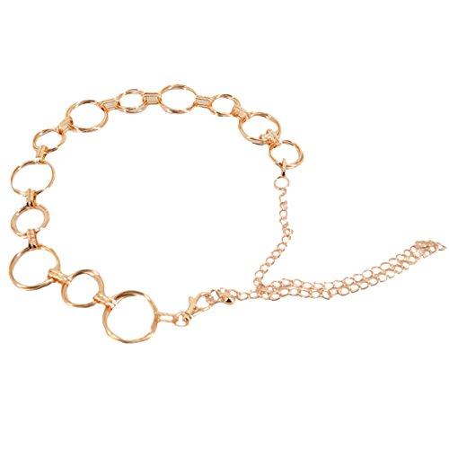 AiSi Damen Fashion Metall Gürtel Kettengürtel Taillengürtel Hüftgurt,Ideal für Kleid, elegantes Design gold
