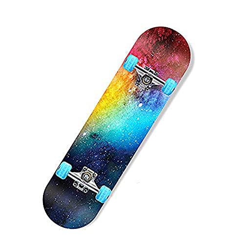 Z-Meng ZhongSkateboards, Monopatín Profesional De 31 Pulgadas, con Ruedas LED, Adecuado para Patinetas De Niños, Niñas, Niños, Adolescentes Y Adultos (Nebula [Flash Wheel])